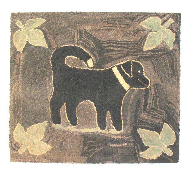 Antique Hooked Rug Of A Dog