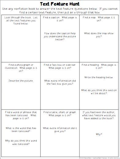 Free Text Feature Scavenger Hunts - Teaching Made Practical. Use over and over with any nonfiction text.