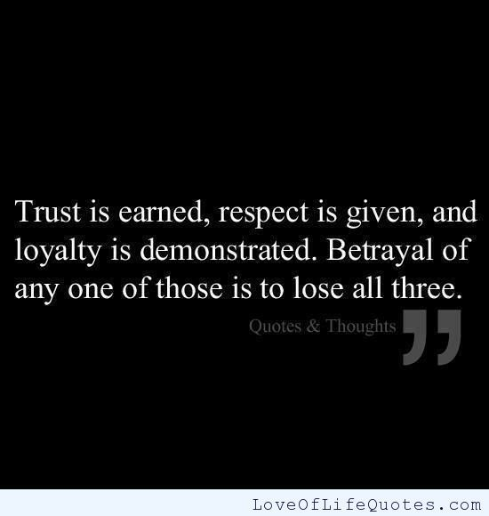 Betrayal- What happens when you have been betrayed, is that you realize that you have trusted someone else w/ a part of you and you learn to never make the same mistake 2