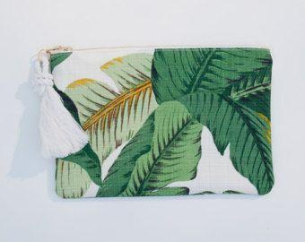 Trousse de maquillage Palm feuille imprimé fermeture éclair pochette verdure monogramme