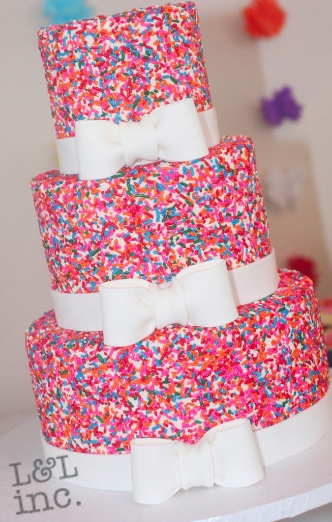 Sprinkles & Bows Birthday Cake   Birthday Cake, Cakes With Candy, Colorful Cakes, Sprinkles   Beautiful Cake Pictures