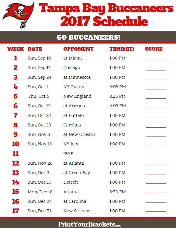 2017 Tampa Bay Buccaneers Football Schedule
