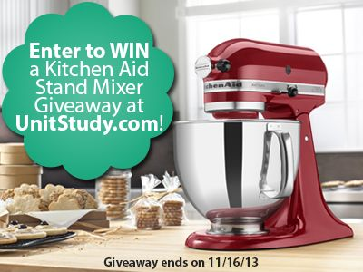 Red KitchenAid Mixer giveaway! Mix up some fun AND learning! Enter now through 11/16/13, and don't miss the big $5 unit study sale on food-themes! http://unitstudy.blogspot.com/2013/11/kitchenaid-mixer-giveaway-kitchen-table.html