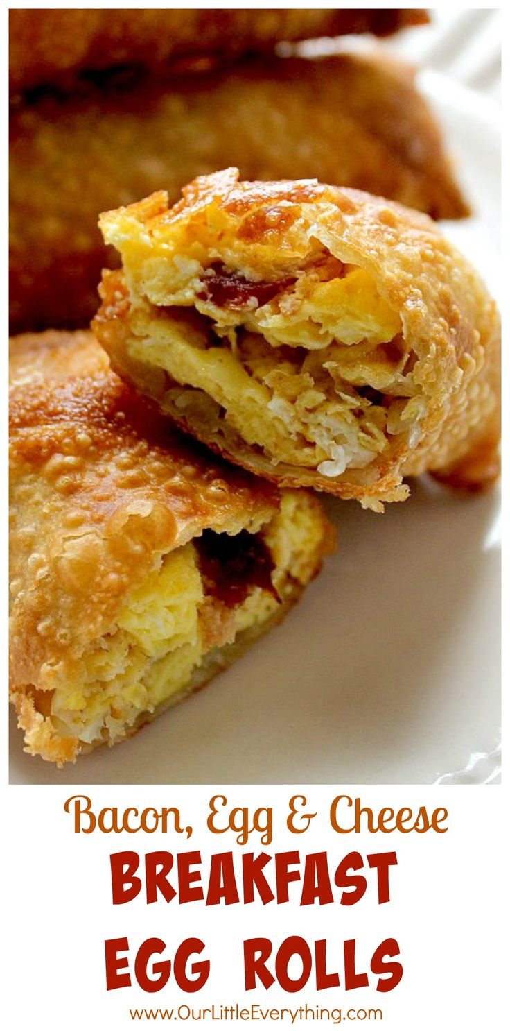 Why didn't I think of this sooner?!? Bacon, Egg, and Cheese stuffed in an egg roll wrapper and deep fried?  YES please!  What a fun breakfast recipe!  Needless to say, everyone loves when I make these for breakfast!  | www.OurLittleEverything.com