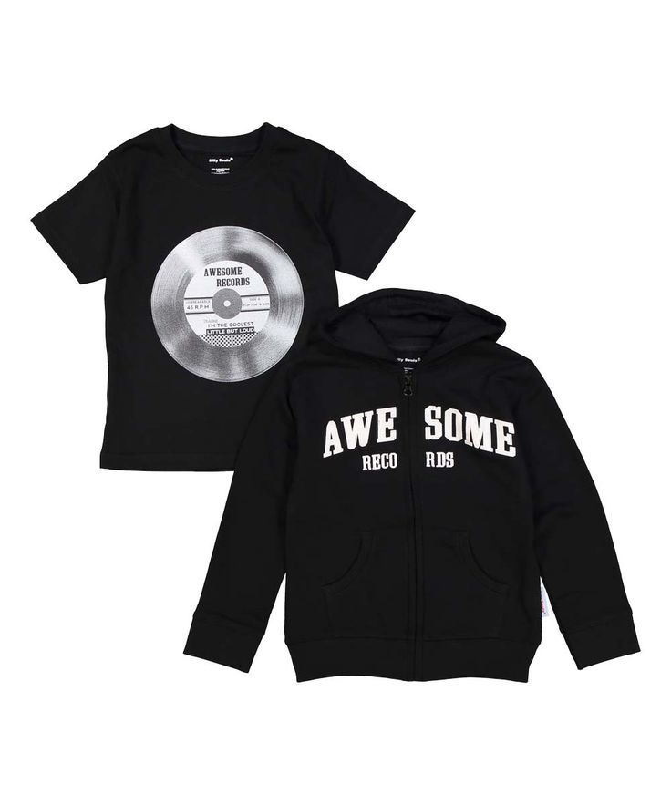 Awesome Records, little but loud, Boy's sweat shirt and tee set, black and white…