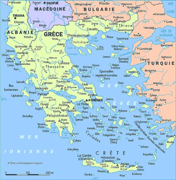 Map Of Greece And Islands In English