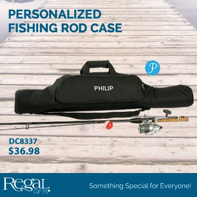 """PERSONALIZED FISHING ROD CASE  Personalized fishing rod case keeps all your gear handy and ready to go! Durable bag with zippered entry has a foam-padded main compartment to protect rods and reels and expands from 39"""" to 49"""". Two easy-access outside pockets hold lures, bait, tackle knives and accessories. 11-1/2""""W"""