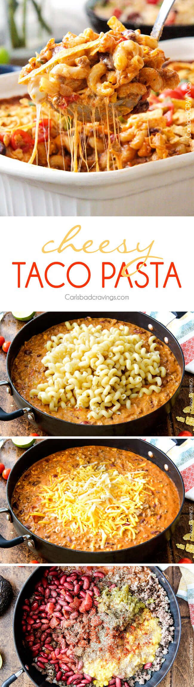 LIGHTER Cheesy Taco Pasta is my husband's absolute favorite pasta! Juicy beef, beans, pasta etc., smothered in an incredible creamy Enchilada-esque sauce out of this world delicious! Your whole family will LOVE this and its super easy! via @carlsbadcraving