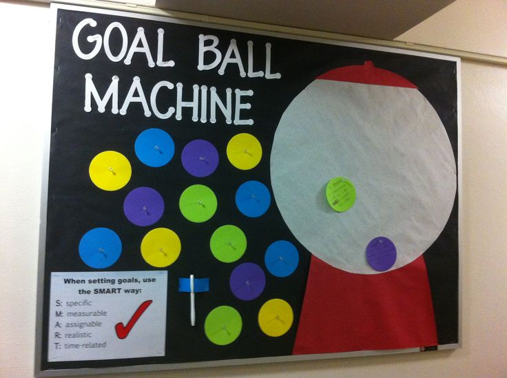 Goal Ball Machine. Residents write a goal on a ball and place it in the machine. I used tacks for the balls so I can easily remove any inappropriate ones. Bulletin boards, Resident Advisor, Resident Assistant, ResLife, Residence Life