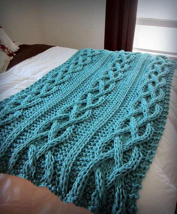 Cable Knit Blanket 100 Cotton Ready To Ship by OzarksMomma on Etsy, $245.00