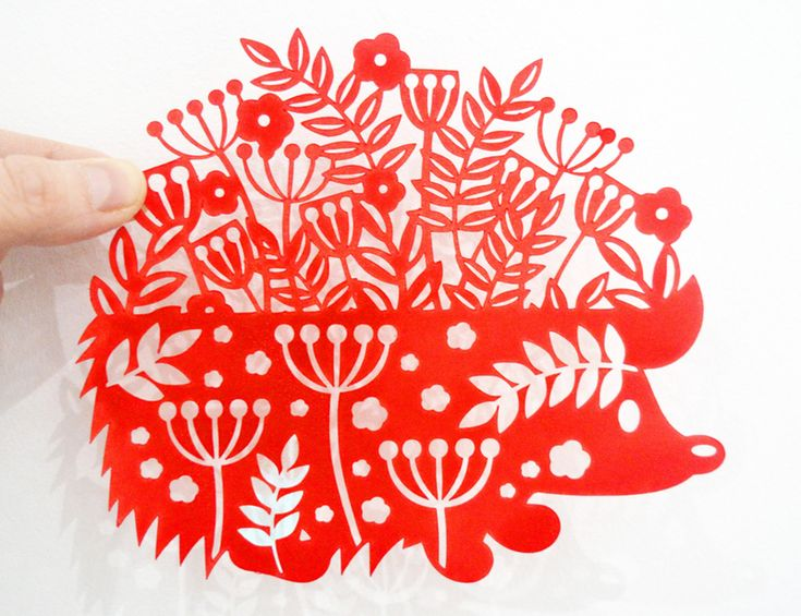 Hedgehog paper cut SVG / DXF / EPS files and PDF / PNG printable templates for hand cutting. Digital download.