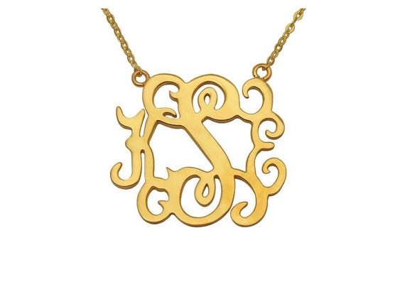 Gold Plated Sterling Silver Monogram Necklace by madetoinspire, $65.00