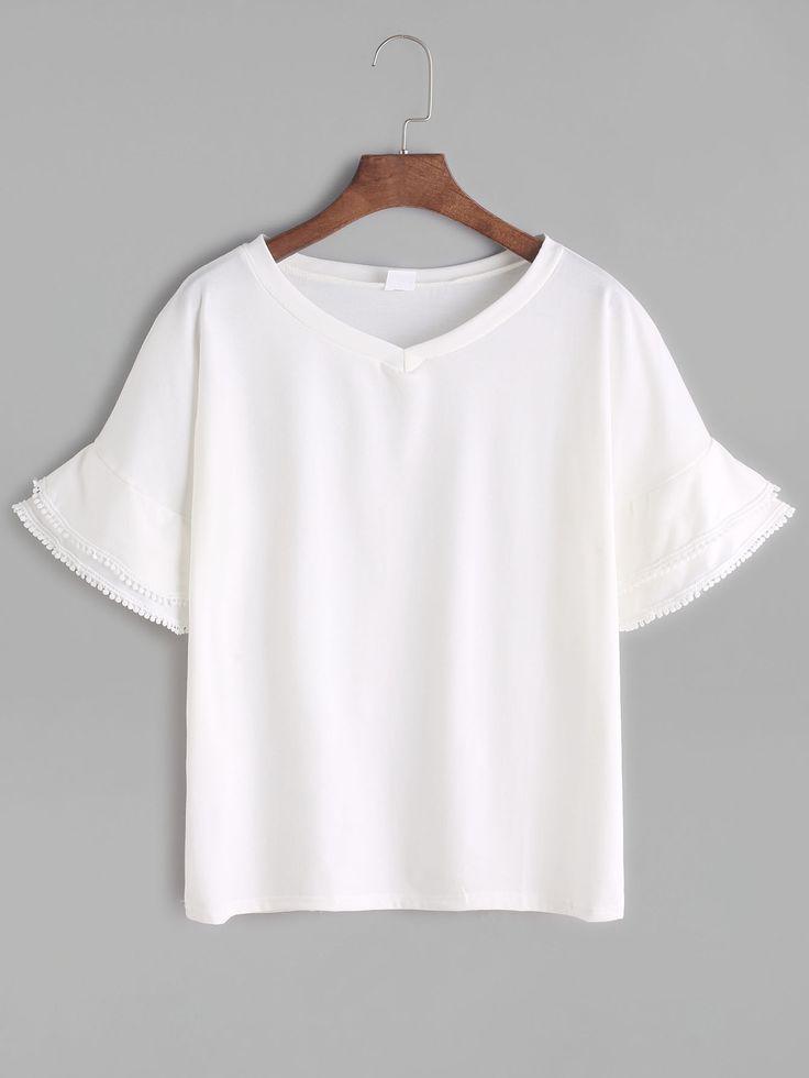 Shop White V Neck Tiered Bell Sleeve Crochet Trim T-shirt online. SheIn offers White V Neck Tiered Bell Sleeve Crochet Trim T-shirt & more to fit your fashionable needs.