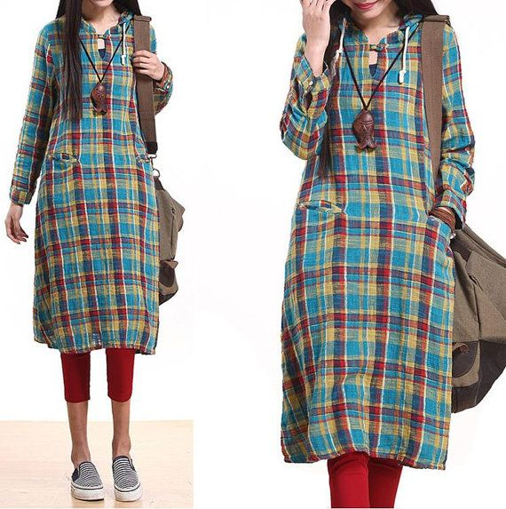 Color plaid hooded plaid long dress / long sleeve cotton big pockets  Dress