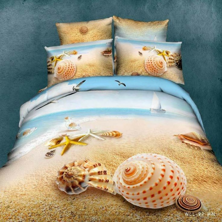 oil painting effect Beach scenic sea shell 100% cotton 4pcs reactive printed duvet/quilt/comforter cover set Queen size/B2148  30%OFF!