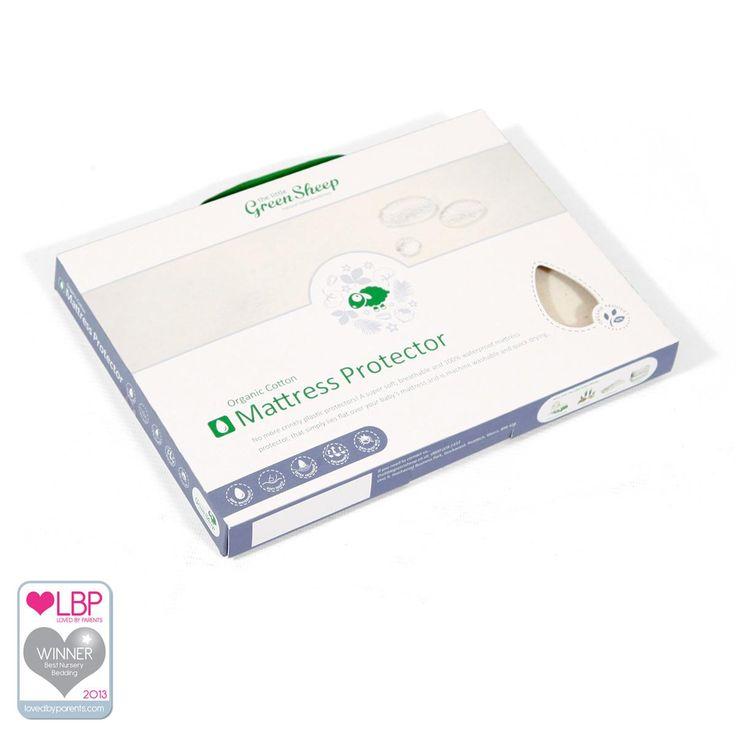 Organic Crib Waterproof Mattress Protector 40x80cm   Crib Mattress Protectors from The Little Green Sheep, UK