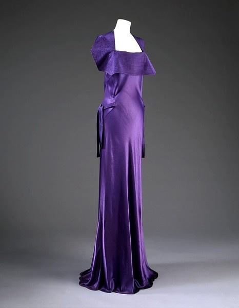 Evening dress    Place of origin:  Paris, France (made)    Date:  winter 1935 (made)    Artist/Maker:  Jeanne Lanvin, born 1867 - died 1946 (designer)    Materials and Techniques:  Satin, machine-sewn