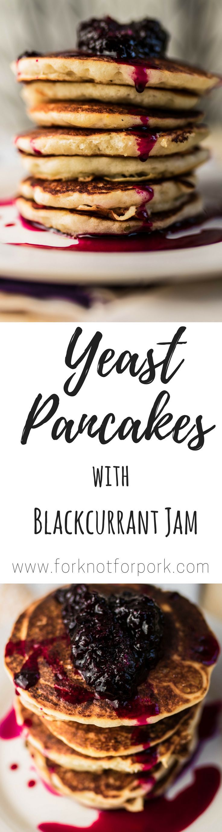 Yeast pancakes with blackcurrant jam. #Vegan and #gluten free option to discover East European kitchen.