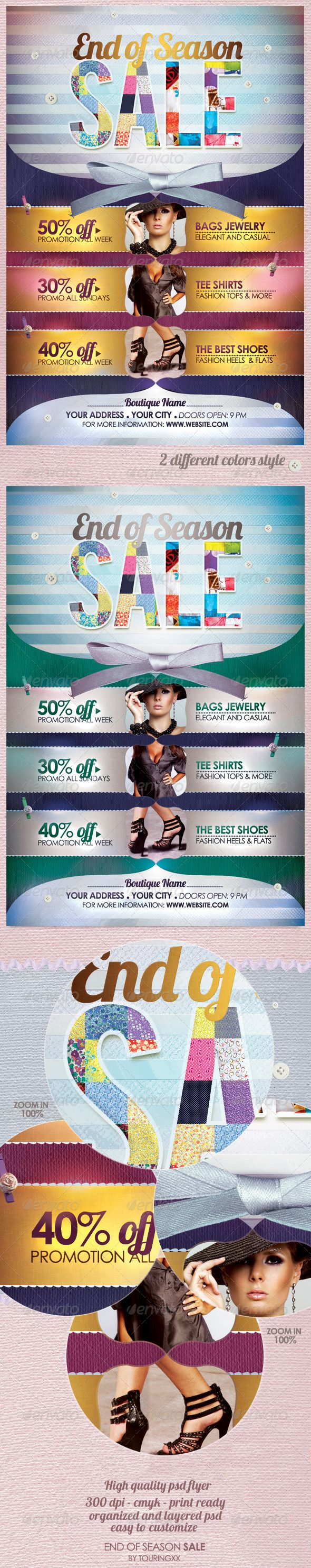 End of Season Sale Flyer Template - $6. ***This flyer is perfect for the promotion of Shops/Boutiques, Fashion Shows, New Collections, Promotions or whatever you want!.  This Template Brings a Unique Look and Feel For Your Business Marketing.***