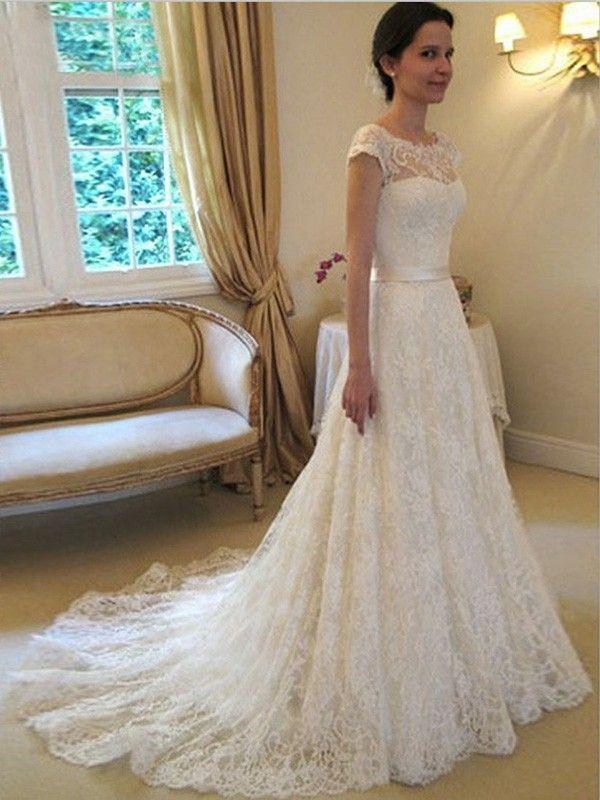 A-line/Princess Scoop Sleeveless Sash/Ribbon/Belt Court Train Lace Wedding Dress