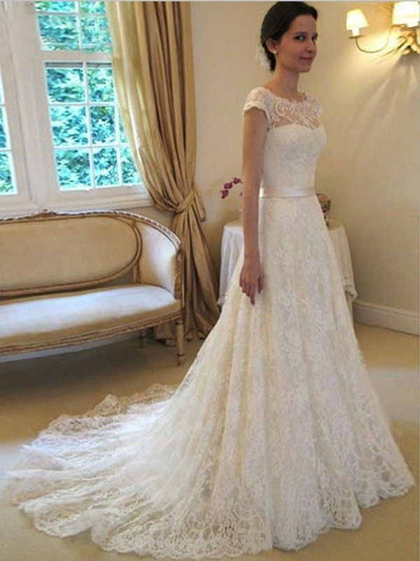 auroraldress.com SUPPLIES Elegant A-line/Princess Scoop Sleeveless Sash/Ribbon/Belt Court Train Lace Wedding Dress Lace Wedding Dresses