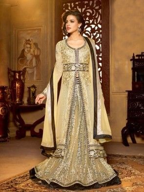 Cream Georgette Anarkali Suit With Embroidary Work