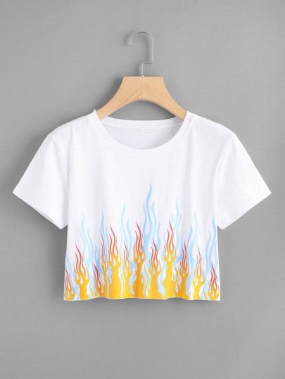 Fire Print Crop Tee - Cropped - Ideas of Cropped - Fire Print Crop TeeFor Women-romwe Cute Comfy Outfits, Cute Girl Outfits, Stylish Outfits, Kids Outfits, Cool Outfits, Girls Fashion Clothes, Teen Fashion Outfits, Jugend Mode Outfits, Belly Shirts