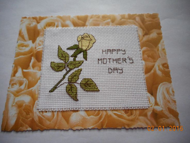 cross stitch Mother's Day card available etsy shop DebbyWebbysCards
