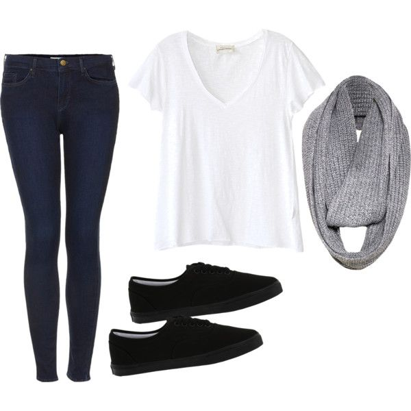 tee + scarf + jeans + flats