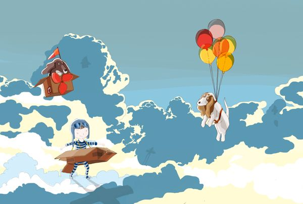 A boy, a box and two basset hounds - Sky by DRIEHOEK, Illustrated by Megan Bird