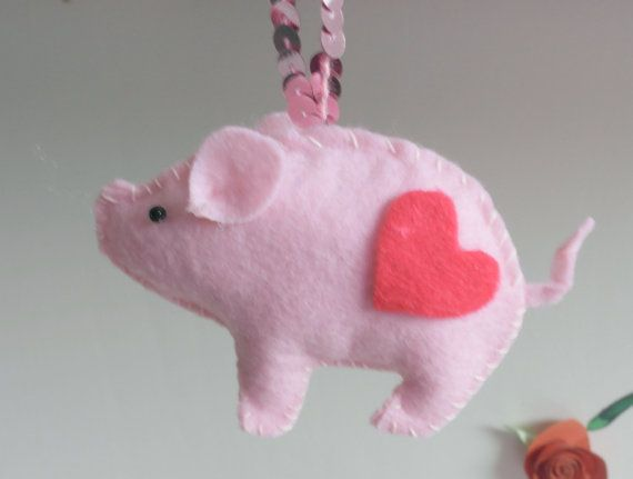 Handmade Felt Pig Ornament on Etsy, $4.47