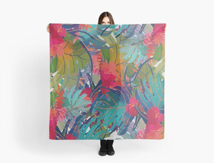 « Fleurs exotiques, feuilles, multicolores  » par LEAROCHE