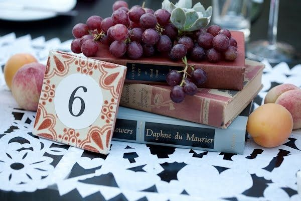 Book & Fruit wedding centerpieces. This is actually really neat. put a doily under it or something