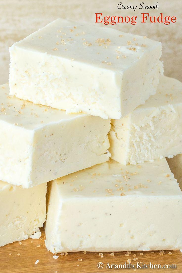 Eggnog Fudge that is amazingly creamy and smooth #fudge #eggnogfudge #fudge #Christmasbaking #Holidaybaking