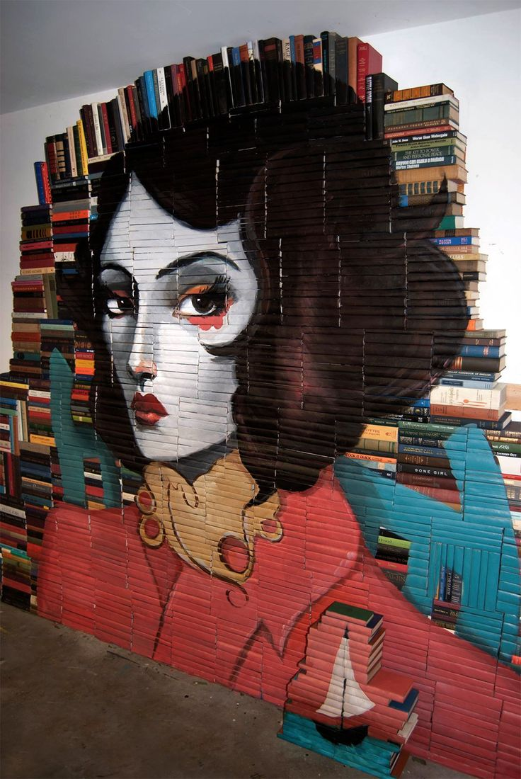 New Paintings on Salvaged Books by Mike Stilkey  http://www.thisiscolossal.com/2014/07/new-paintings-on-salvaged-books-by-mike-stilkey/