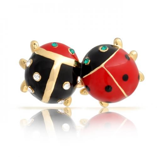 Gold Plated Insect Bug Couple Crystal Ladybug Brooch Lapel Pin