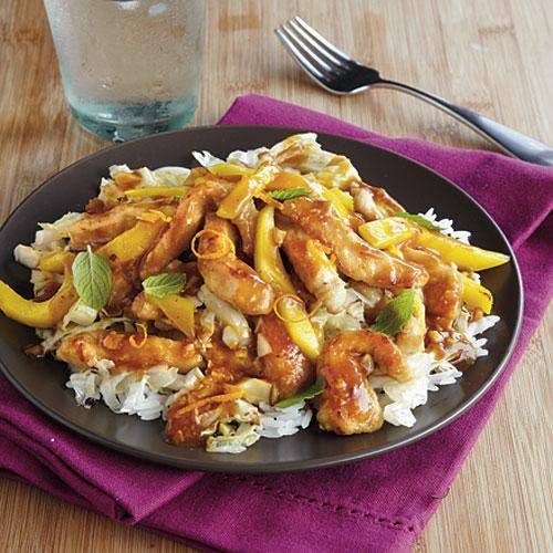 Pork and Mango Stir-Fry Mango and mint is an unexpected combination in this speedy weeknight stir-fry, but they compliment each other well. Slice your mango the same thickness as the pork—it's easier to eat this way, and it looks nice too! #dinner #full