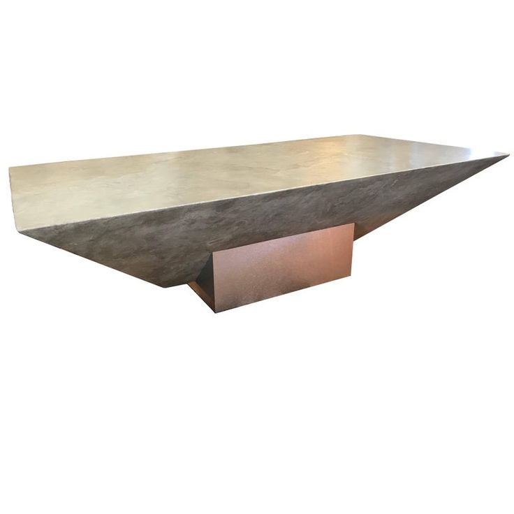 80s Modern Designer Faux Plaster and Brushed Metal Coffee Table 1