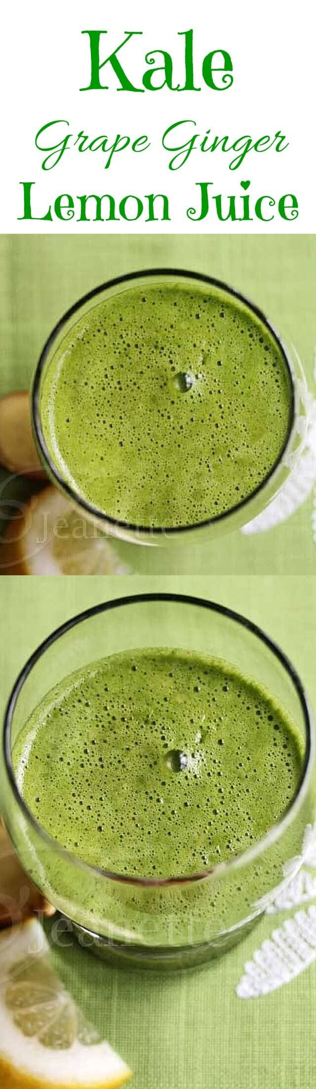 Kale Grape Ginger Lemon Juice - detox your body with this delicious green juice ~ http://jeanetteshealthyliving.com