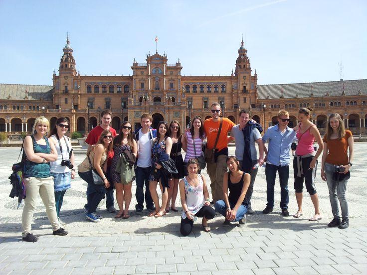 A Guided tour through Plaza de Espana in Seville.