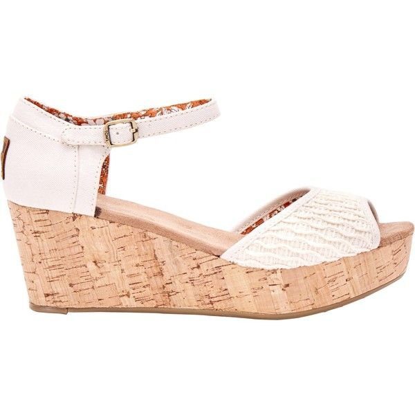 TOMS Platform Wedge Heeled Sandals , Off White ($51) ❤ liked on Polyvore featuring shoes, sandals, off white, heeled sandals, open toe sandals, summer wedge sandals, low wedge sandals and low heel sandals
