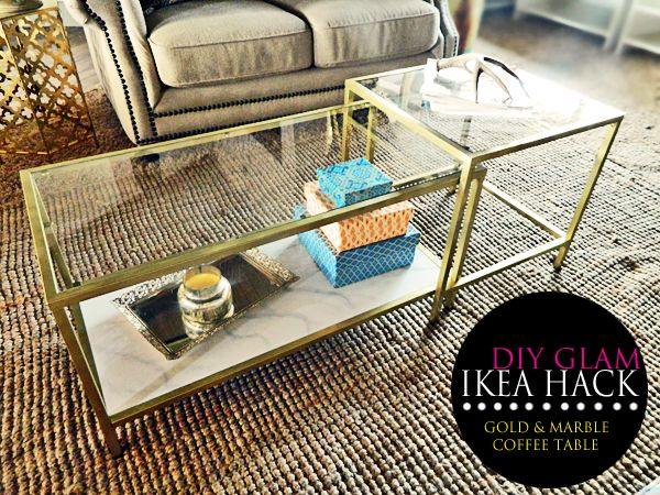 DIY Glam Ikea Hack. Gold and Marble Coffee table