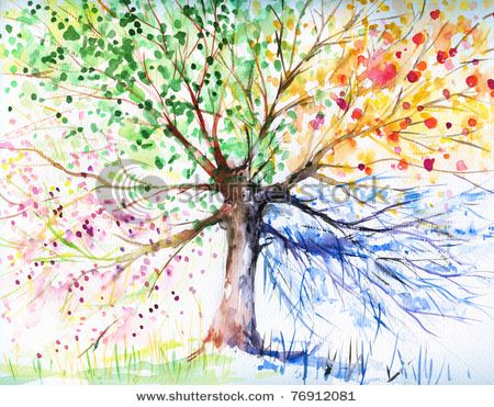 four seasons tree art idea