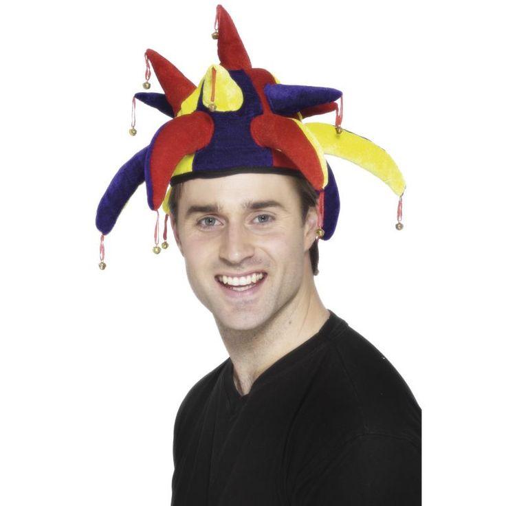 Ce chapeau de bouffon multicolore possède des grelots! Les couleurs sont jaune, bleu, rouge! Taille unique.