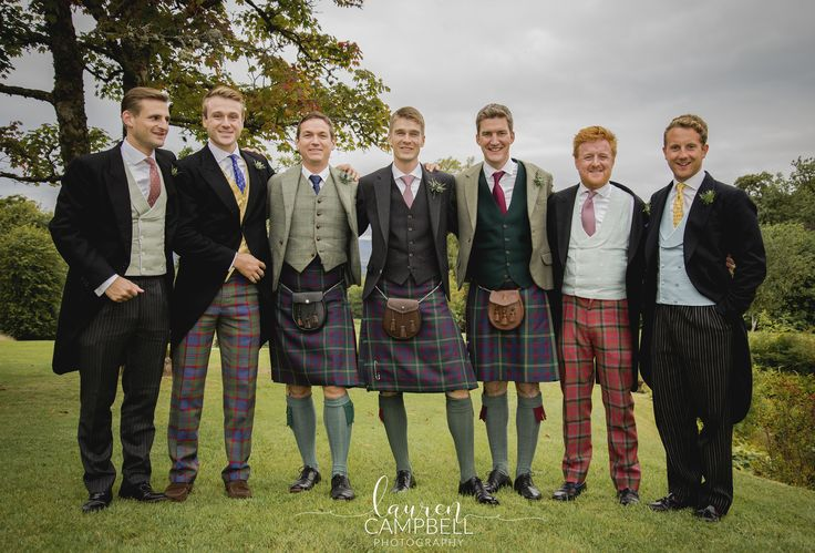 Groomsmen in Tartan Kilts and Trousers. Wedding Photography by Lauren Campbell.