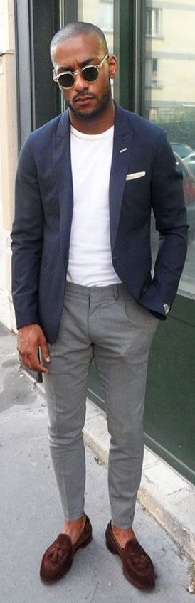Unlined Navy Blazer, White Tee, Gray Slim Fit Pants, and Aubergine Leather Tassel Loafers. Men's Spring Summer Fashion.