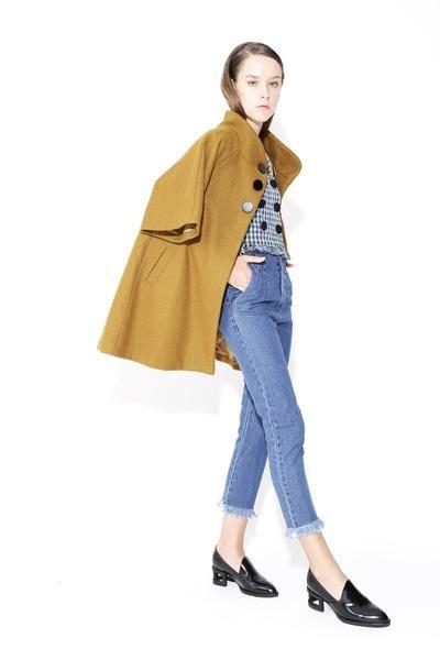 Audrey   Mustard Cape Swing Coat