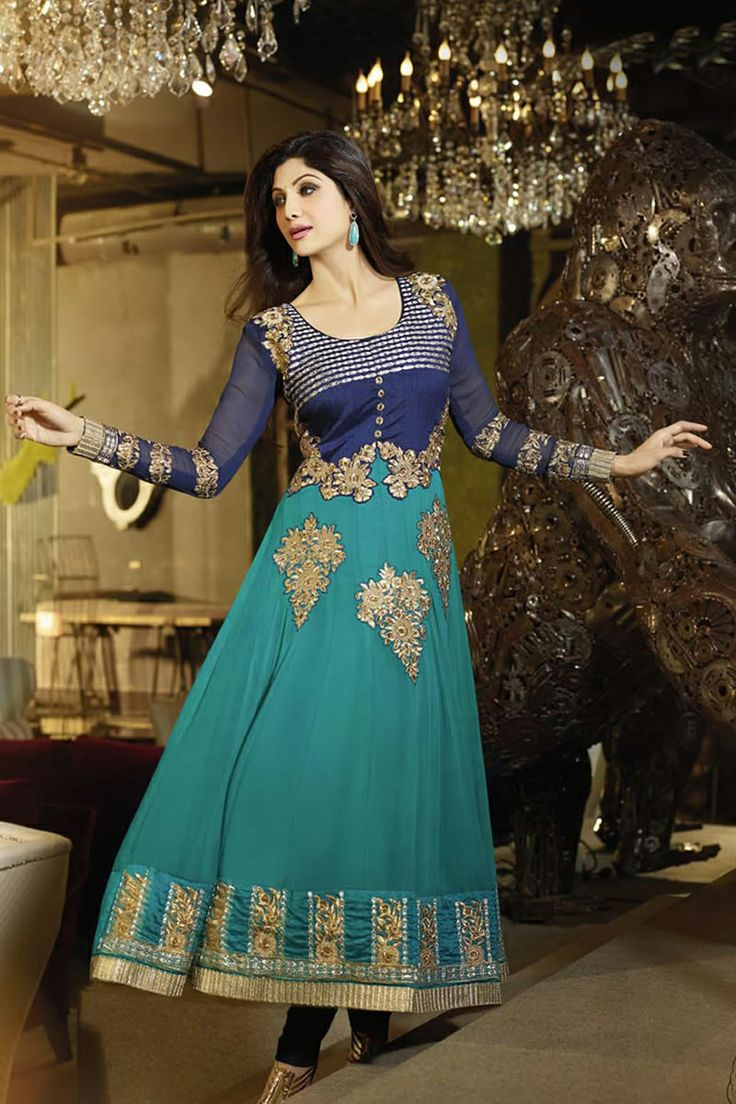 12 best Shilpa Shetty Suits images on Pinterest | Long anarkali ...