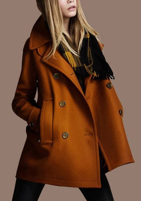 Wool coat in an Autumn orange