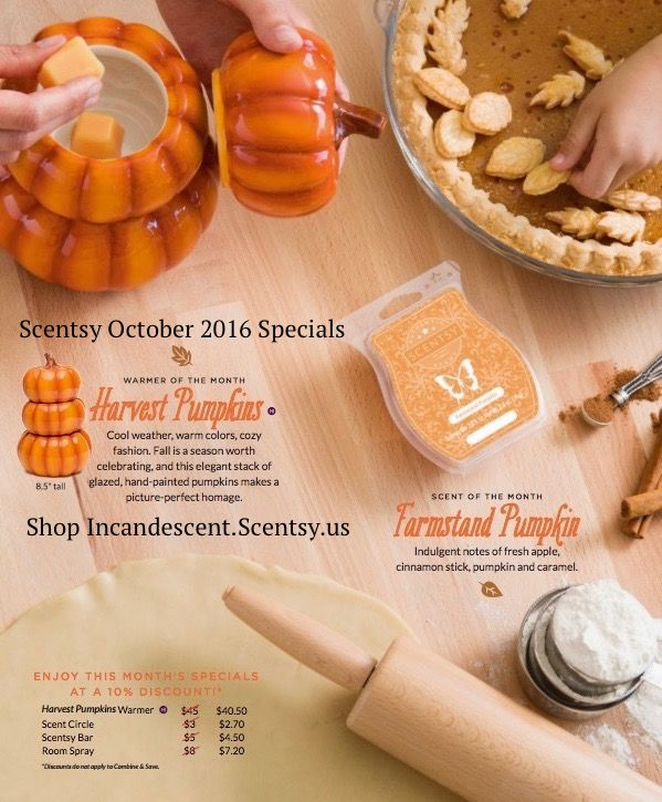 The Scentsy 2016 OctoberWarmer of the month ~ Harvest Pumpkins Scentsy…